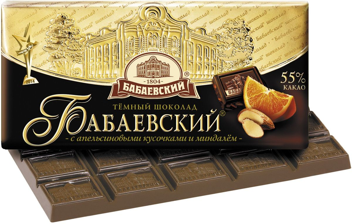 Бабаевский темный шоколад с апельсиновыми кусочками и миндалем, 100 гББ11679Гордость бренда Бабаевский - высококачественный темный шоколад, созданный с использованием отборных какао бобов и какао масла.