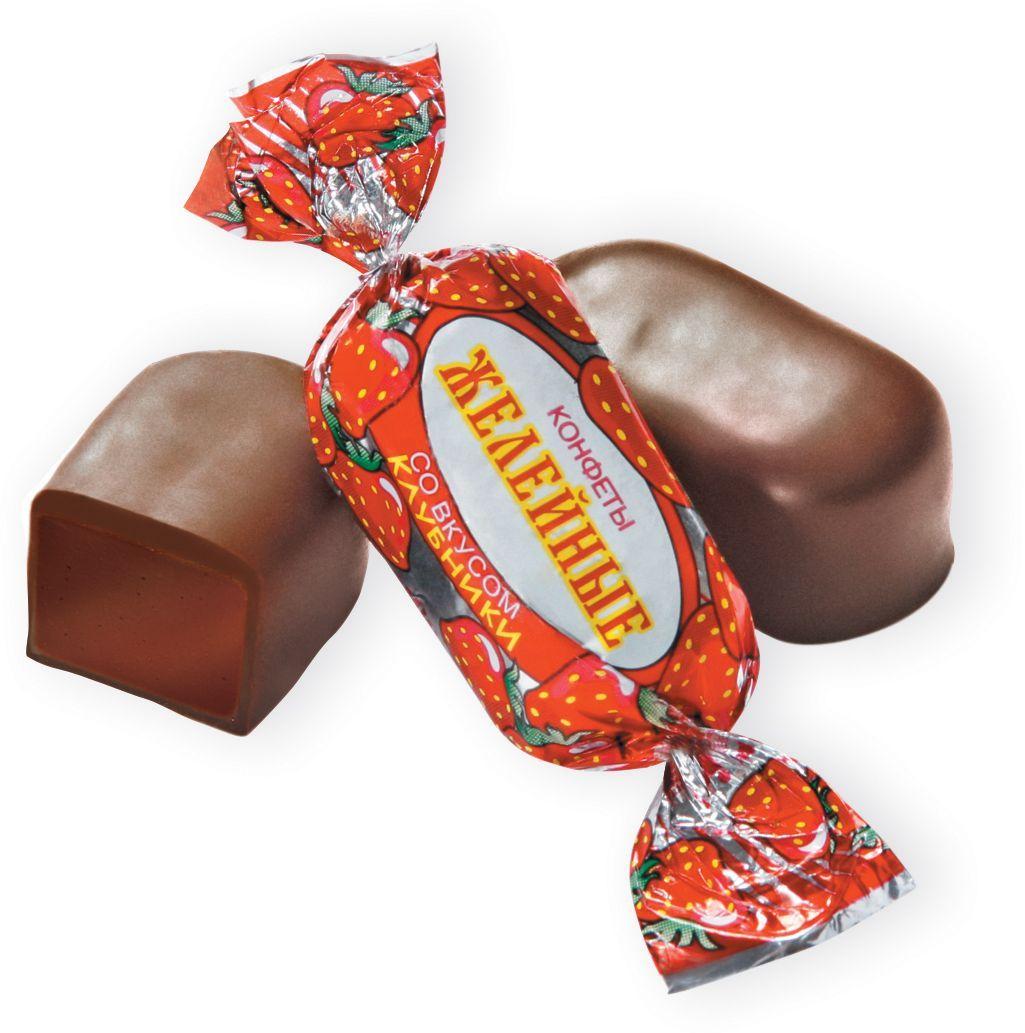 Красный Октябрь Желейные конфеты клубника со сливками в шоколадной глазури, 250 г славянка золотой степ конфеты 192 г