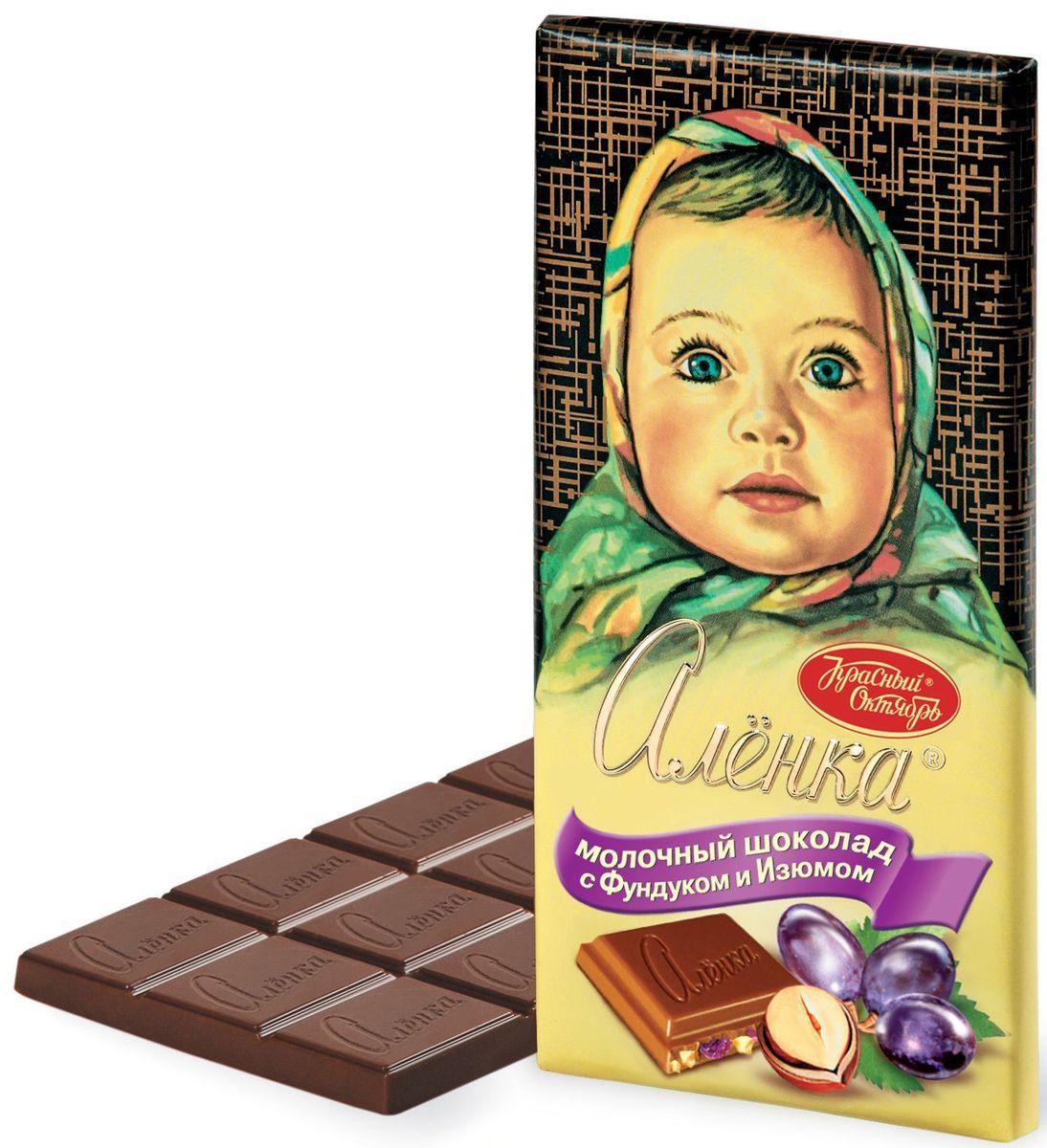 Красный Октябрь Аленка с фундуком и изюмом молочный шоколад, 100 г волшебница золотой орех шоколад молочный с фундуком и изюмом 190 г
