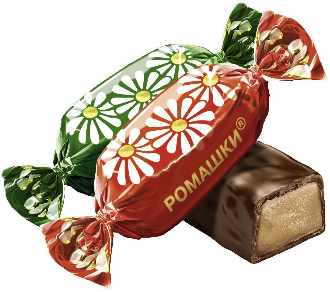 Рот-Фронт Ромашки конфеты вкус крем-брюле в шоколадной глазури, 250 г рот фронт коровка вафельные конфеты с молочным вкусом 250 г