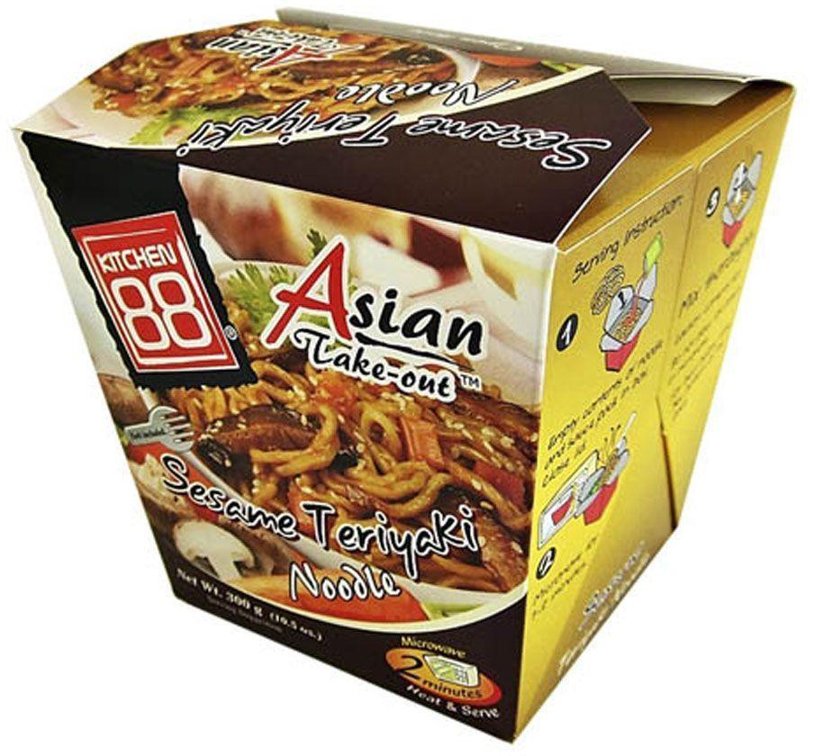 Kitchen88 Лапша в соусе терияки, 300 гPL0018014Изумительная лапша в соусе терияки с кунжутом - звучит вкусно, не правда ли? Попробуйте новое полностью готовое блюдо, которое требует только разогрева в микроволновой печи или под струей горячей воды! Теперь вы можете наслаждаться любимым вкусом дома, в офисе или на природе.