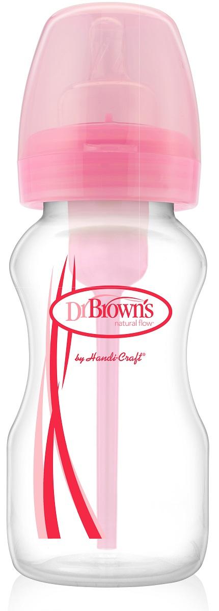 Dr.Brown's Антиколиковая бутылочка для кормления с силиконовой соской цвет розовый 270 мл