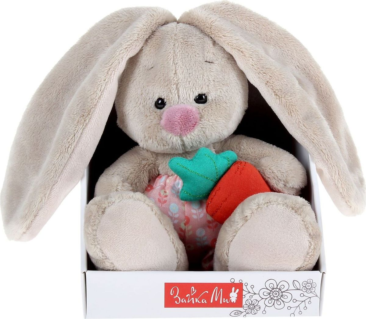 Зайка Ми Мягкая игрушка Зайка Ми в панталончиках и с морковкой 15 см малышарики мягкая игрушка собака бассет хаунд 23 см