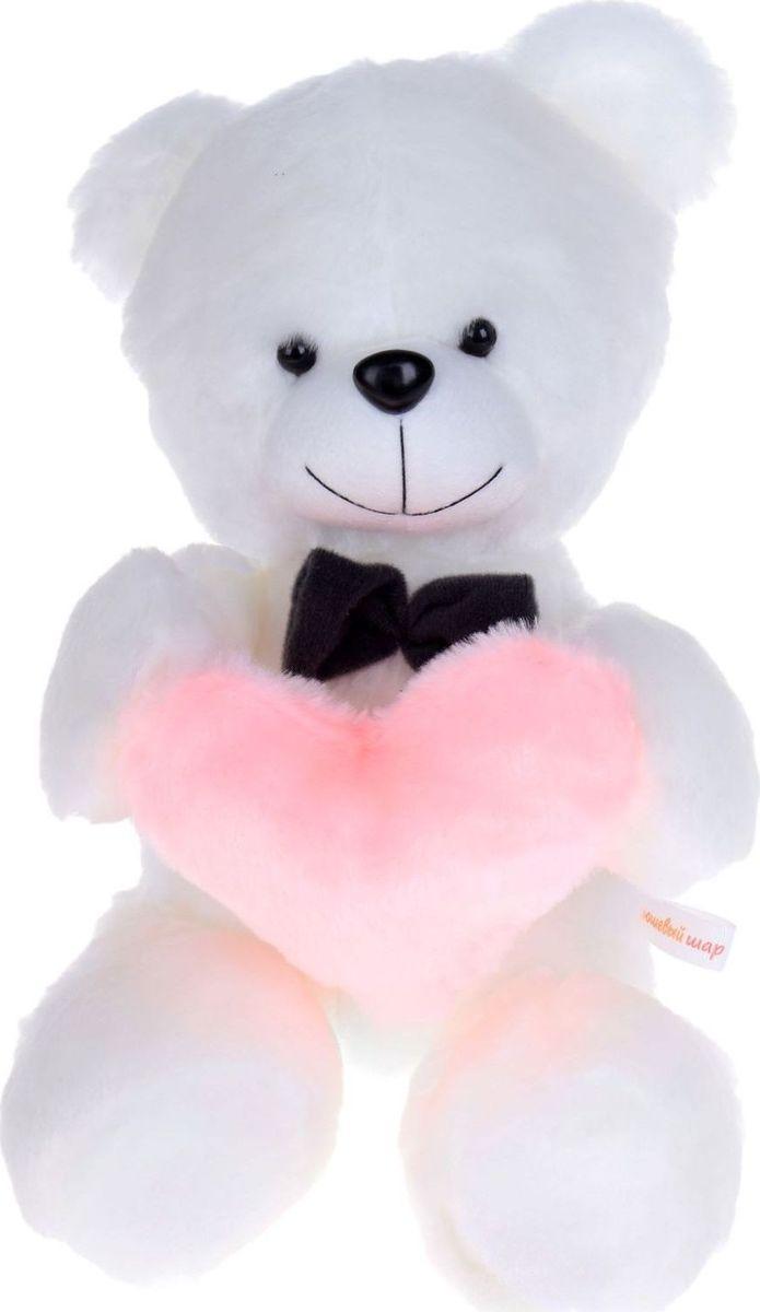 Sima-land Мягкая игрушка Медведь цвет белый с розовым сердцем 38 см, Плюшевый шар