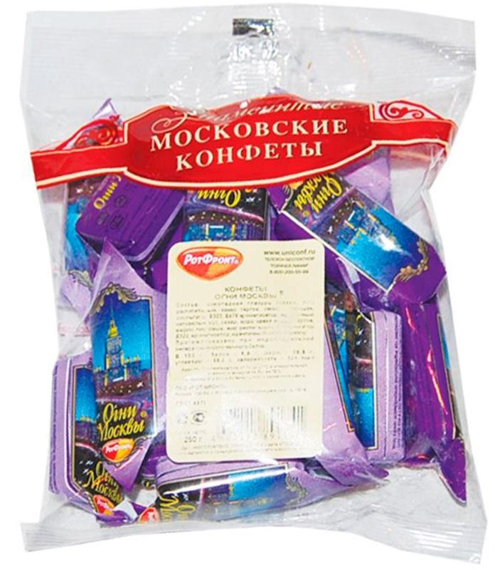 Рот-Фронт Огни Москвы конфеты с дробленым орехом в шоколадной глазури, 250 г рот фронт коровка вафельные конфеты с молочным вкусом 250 г