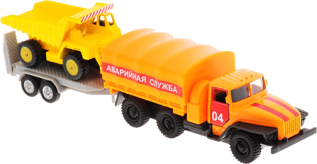 ТехноПарк Набор машинок Урал Аварийная служба с грузовиком на прицепе технопарк набор машинок экскаватор и самосвал с прицепом