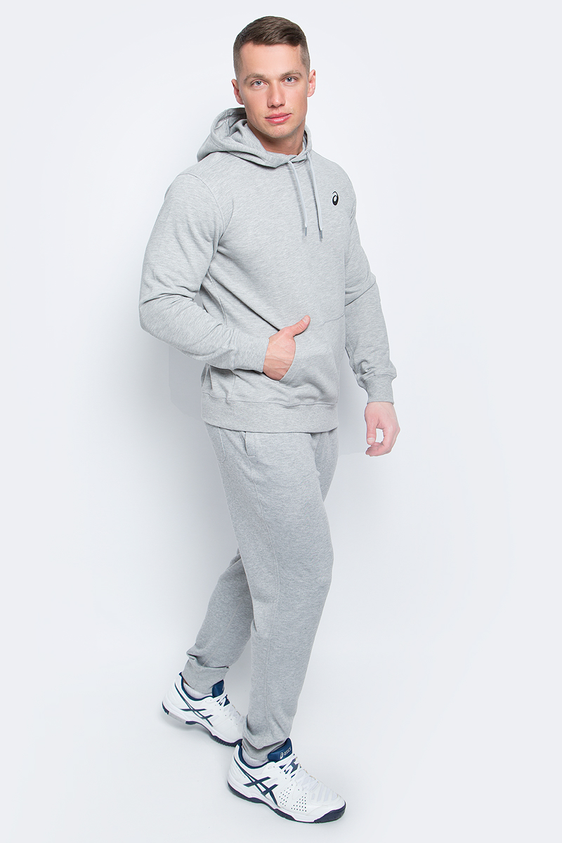 Худи мужское Asics Spiral Hoody, цвет: серый. 141089-0714. Размер S (46/48)141089-0714Мужское худи Asics выполнено из хлопка с добавлением полиэстера и эластана. У модели классический крой - худи не слишком тесное и не слишкомсвободное, что гарантирует полную свободу движений. Капюшон на шнурках.Изделие оформлено эластичными манжетами и окантовкой низа, дополнено карманом-кенгуру.