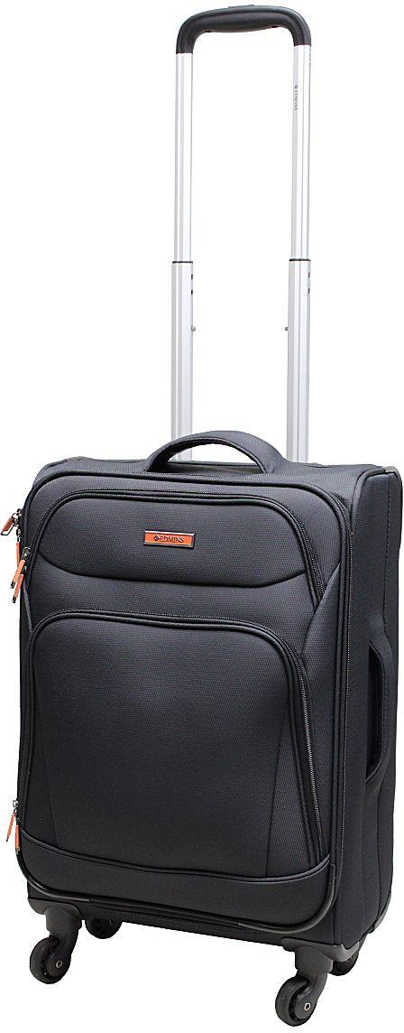 Чемодан Edmins, цвет: черный, 40 л. 362 CT 720*0362 CT 720*0Суперлегкий чемодан Edmins 362 СТ изготовлен из плотного полиэстера. Ткань легко чистится, проста в уходе, выдерживает температурные перепады. Чемодан имеет одно основное отделение для хранения одежды и аксессуаров, которое закрывается на застежку-молнию. Внутри имеются поперечные прижимные ремни для фиксации вещей и боковой карман на молнии для мелочей. На крышке чемодана - сетчатое отделение на молнии. Внутренняя поверхность изделия отделана атласным полиэстером. С лицевой стороны содержатся два дополнительных кармана на молнии. Имеется встроенная адресная бирка, расположенная на задней стенке чемодана.Чемодан оснащен выдвижной алюминиевой ручкой с кнопкой-фиксатором. Четыре колеса вращаются на 360°, что обеспечивает маневренность и плавность хода. Боковая поверхность оснащена 4 пластиковыми вставками для предотвращения загрязнений. Для переноски в руке предусмотрены 2 ручки, одна из которых боковая. Чемодан имеет кодовый замок. Предварительно установленная комбинация открытия - 000. Вы можете заменить ее на другую, следуя инструкции. В комплекте мешок для обуви. Стильный чемодан Edmins вместит все необходимые вещи и станет незаменимым аксессуаром для поездок.Нагрузка: 10 кг. Высота выдвижной ручки: 50 см.
