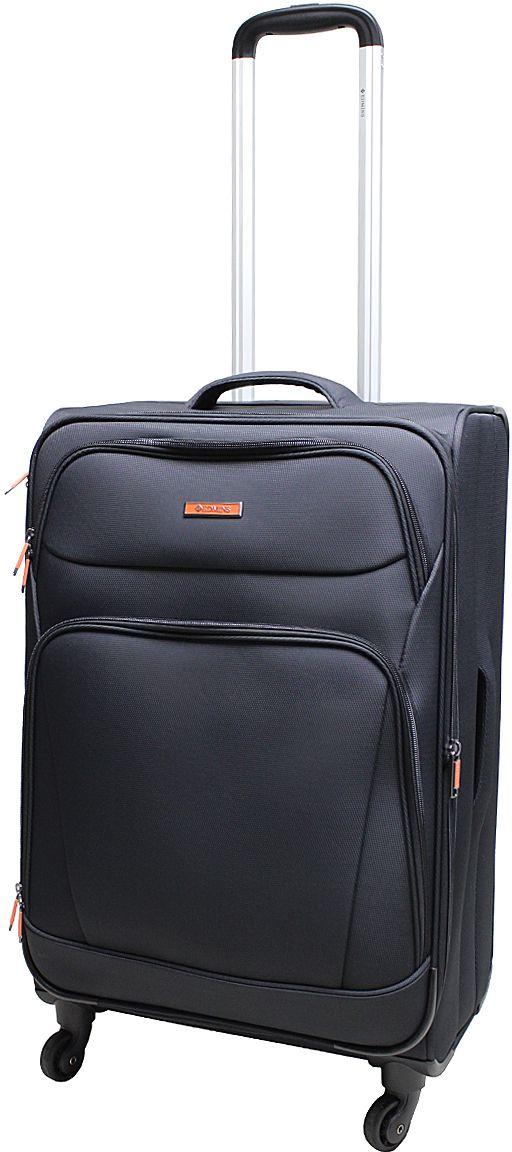 Чемодан Edmins, цвет: черный, 85 л. 362 CT 740*0362 CT 740*0Суперлегкий чемодан Edmins 362 СТ изготовлен из плотного полиэстера. Ткань легко чистится, проста в уходе, выдерживает температурные перепады. Чемодан имеет одно основное отделение для хранения одежды и аксессуаров, которое закрывается на застежку-молнию. Внутри имеются поперечные прижимные ремни для фиксации вещей и боковой карман на молнии для мелочей. На крышке чемодана - сетчатое отделение на молнии. Внутренняя поверхность изделия отделана атласным полиэстером. С лицевой стороны содержатся два дополнительных кармана на молнии. Имеется встроенная адресная бирка, расположенная на задней стенке чемодана.Чемодан оснащен выдвижной алюминиевой ручкой с кнопкой-фиксатором. Четыре колеса вращаются на 360°, что обеспечивает маневренность и плавность хода. Боковая поверхность оснащена 4 пластиковыми вставками для предотвращения загрязнений. Для переноски в руке предусмотрены 2 ручки, одна из которых боковая. Чемодан имеет кодовый замок. Предварительно установленная комбинация открытия - 000. Вы можете заменить ее на другую, следуя инструкции. В комплекте мешок для обуви. Стильный чемодан Edmins вместит все необходимые вещи и станет незаменимым аксессуаром для поездок.Нагрузка: 20 кг. Высота выдвижной ручки: 60 см.