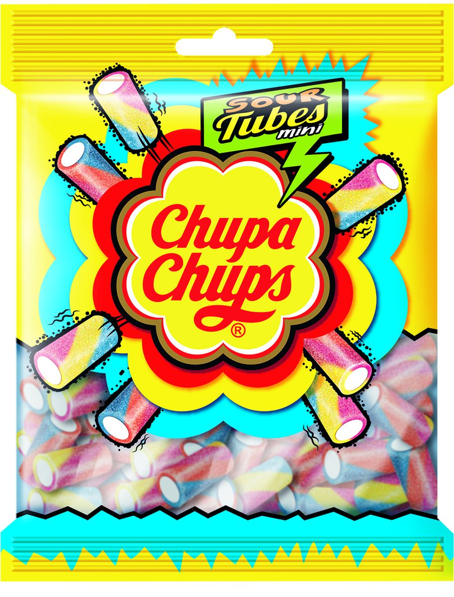 Chupa Chups Жевательный Мармелад Sour Tubes Mini, 150 г ароматизатор воздуха chupa chups ваниль на дефлектор мембранный гелевый 3 мл
