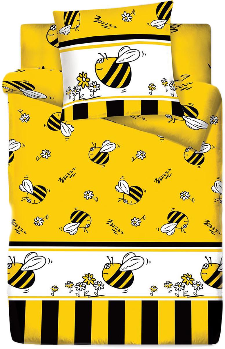 Комплект белья Bravo Кидс Пчелы, 1,5-спальный, наволочки 70x70, цвет: желтый67046Постельное белье Bravo Кидс - это линейка детского постельного белья, которое изготавливается из ткани Lux Cotton (высококачественный импортный поплин), сотканной из длинноволокнистого египетского хлопка. Современный забавный и яркий дизайн, который украсит любой интерьер детской комнаты и долго будет радовать своего обладателя высоким качеством и отличным внешним видом.В процессе производства применяются только стойкие и экологически чистые красители. Обновленная стильная упаковка делает этот комплект отличным подарком.- Равноплотная ткань из 100% хлопка;- Обработана по технологии мерсеризации и санфоризации;- Мягкая и нежная на ощупь;- Устойчива к трению;- Обладает высокими показателями гигроскопичности (впитывает влагу); Выдерживает частые стирки, сохраняя первоначальные цвет, форму и размеры.