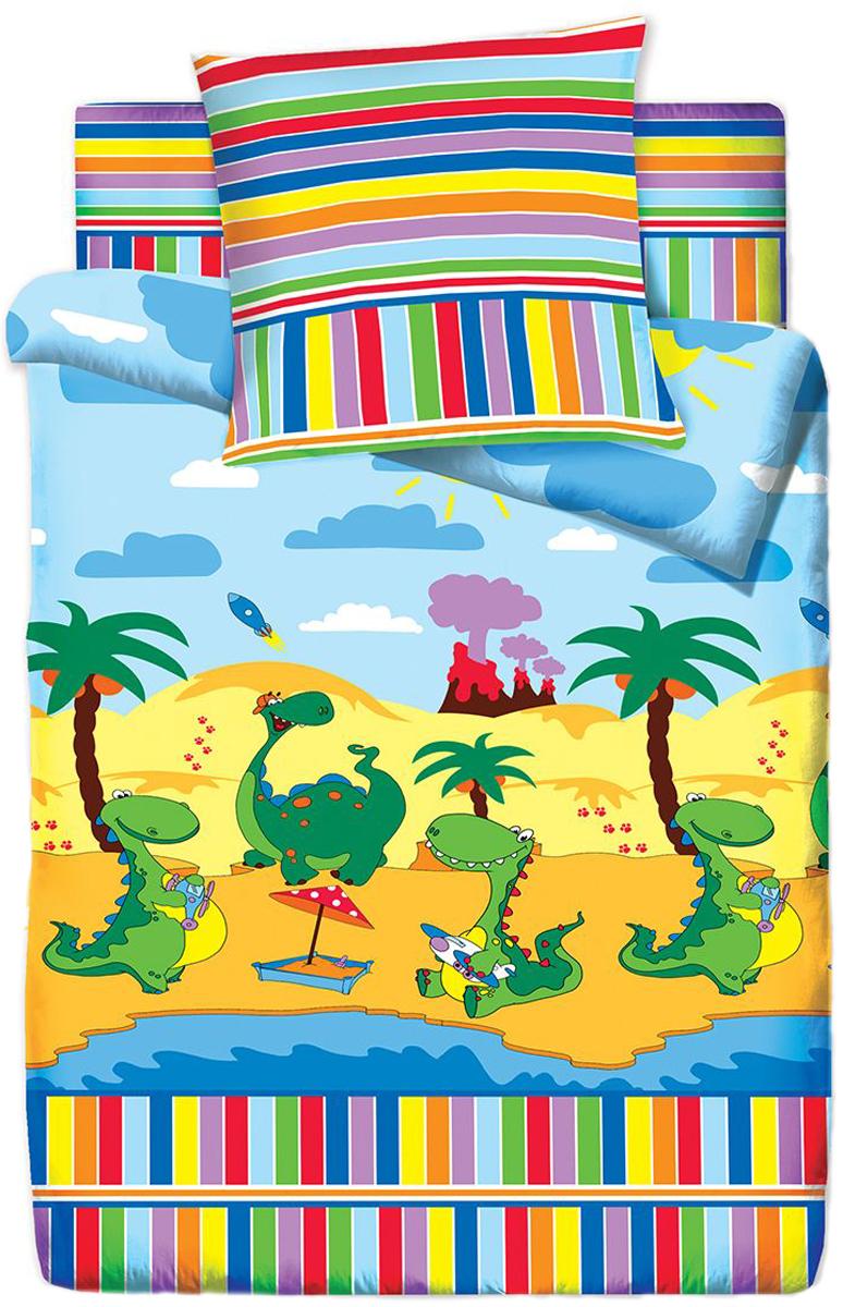 Комплект белья Браво Кидс Дино, 1,5 спальное, наволочки 70x70, цвет: разноцветный. 4076-1 elastico бермуды