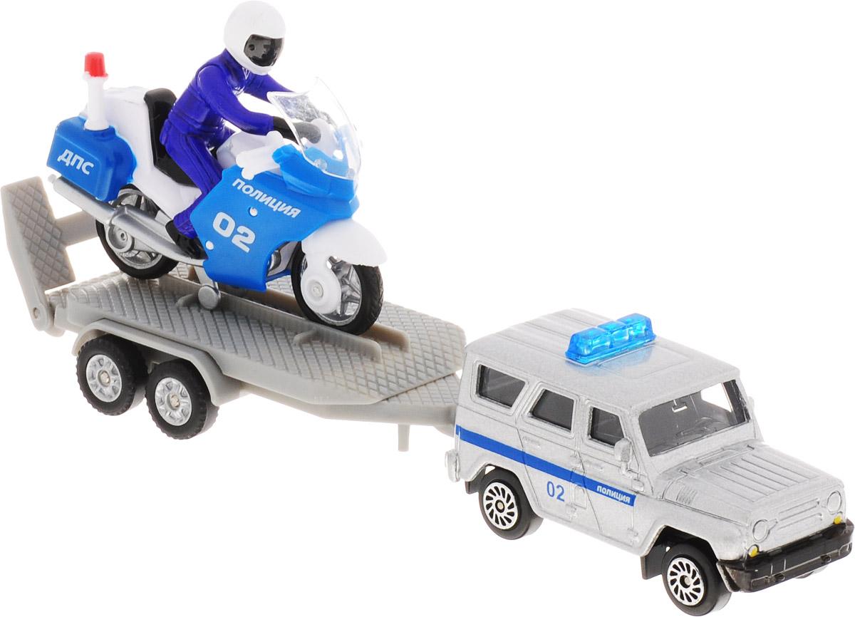 ТехноПарк Набор машинок УАЗ Полиция с мотоциклом на прицепе машинки технопарк набор из 2 х металлических моделей технопарк уаз полиция