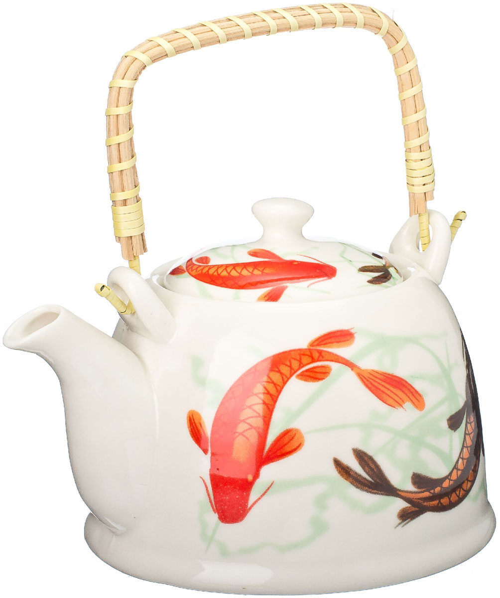 Чайник заварочный Vetta Карпы Кои, с фильтром, 900 мл839017Украсьте свое чаепитие изысканным чайником Vetta Карпы Кои, декорированный красочным изображением. В чайнике имеется металлическое ситечко, ручка чайника декорирована бамбуковым волокном. В этом красивом чайнике чай получается очень насыщенным, ароматным и долго остается горячим.Упакован в подарочный короб, что может послужить отличным подарком родным и близким.