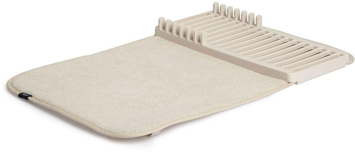 Коврик для сушки посуды Umbra Udry mini, цвет: молочный1004301-354Коврик для сушки посуды Umbra Udry mini - функциональный предмет, который состоит из ворсистого коврика и пластиковой сушилки с шестьюотделениями для тарелок.Сушилка может быть закреплена посередине коврика или с краю, чтобы освободить место для большого сотейника. Кроме того, она легкоснимается для мытья. Коврик складывается в три раза и закрепляется эластичной лентой для компактного хранения. Нижняя часть коврикасостоит из мембраны, благодаря которой влага быстро испаряется.Размер в разложенном виде: 33 х 50,8 х 4,5 см