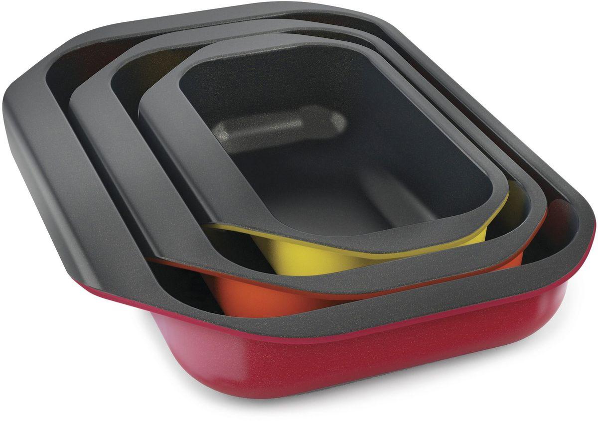 Набор форм для запекания Joseph Joseph Nest Oven, с антипригарным покрытием, 3 шт. 4501345013Набор форм идеален для запекания в духовке мясных, рыбных или овощных блюд. В комплект входит 3 противня емкостью 1,2 л, 2,2 л и 3,7 л. От аналогичных противней этот набор отличает удобная форма ручек, за которые легко потянуть для безопасного извлечения из духовки. Формы сделаны из высококачественной карбоновой стали. Внутренняя часть покрыта силиконово-керамическим антипригарным слоем Whitford Quantum 2. Такая технология изготовления предотвращает прилипание кусочков пищи и облегчает уход. Внешняя часть форм покрыта материалом на основе полиэстер-силикона. Для компактного хранения формы складываются друг в друга и занимают минимум места. Их удобно хранить внутри духовки или в ящике стола. Предельно допустимая температура нагрева - не более 230 градусов.