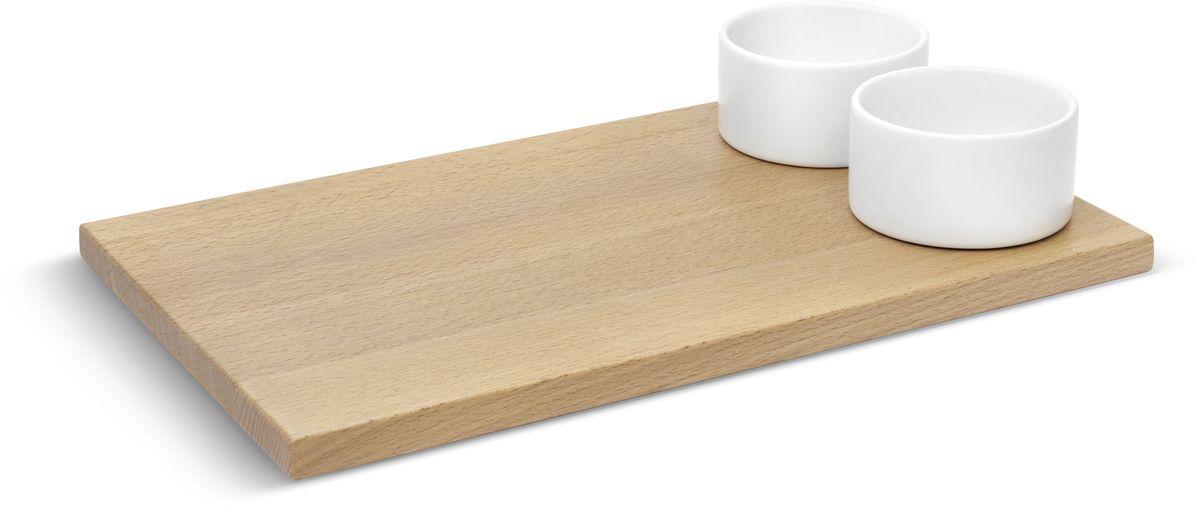 Доска для хлеба Umbra SAVORE, с соусницами. 460164-668460164-668Доска Umbra SAVORE - красивое решение для подачи хлеба. Доска изготовлена из натуральной древесины бука. Две керамические емкости предназначены для подачи соусов, масла, джема. Набор входит в коллекцию Savore – эксклюзивную серию высококачественных товаров для кухни.