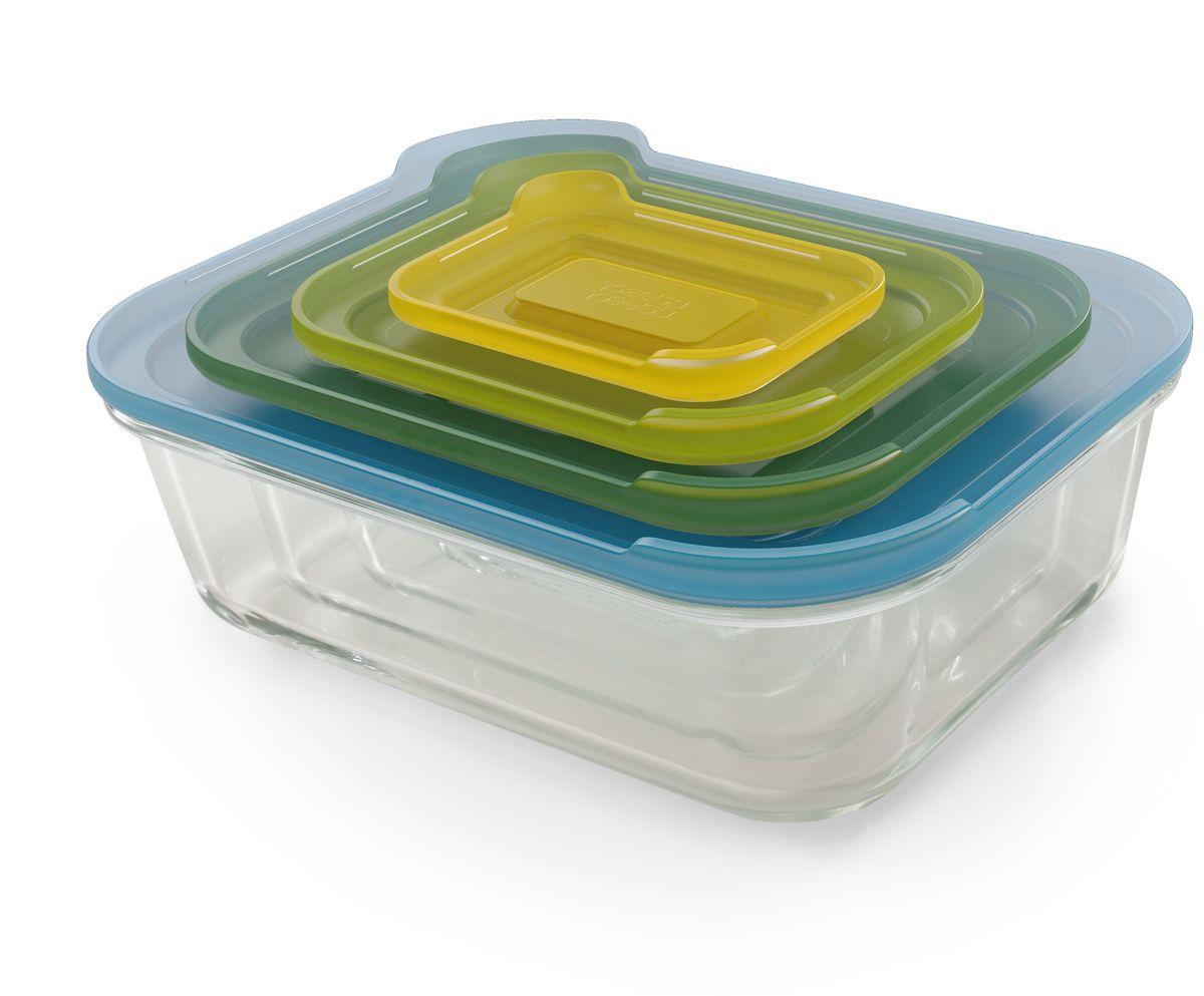 Набор контейнеров Joseph Joseph Nest, 4 шт. 8106081060Расширение популярной коллекции Nest в новом материале и с новым функционалом. Универсальный набор стеклянных контейнеров подходит и для приготовления еды в духовке, и для её хранения. В комплект входит 4 лотка объемом 130 мл, 550 мл, 1,3 л, 2,5 л с крышками. Газосиликатное стекло отличается высокой прочностью к повреждениям и устойчивостью к температурным перепадам. Благодаря этой особенности контейнеры с продуктами можно вынимать из холодильника и сразу ставить в микроволновую печь или в духовку.Герметичные крышки защелкиваются и не пропускают воздух. Чтобы открыть контейнер, достаточно поднять специальный язычок. Для хранения лотки можно сложить друг в друга и поставить в шкаф. Лотки можно мыть в посудомоечной машине, крышки – только в верхней части.