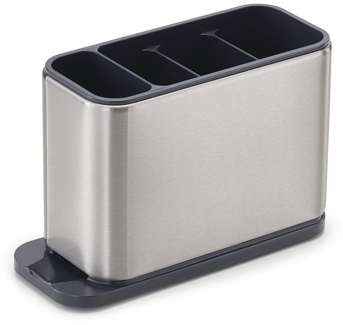 Подставка для кухонных приборов Joseph Joseph Surface, 13,5 х 20,2 х 8,4 см85110Вместительный органайзер для сушки столовых приборов выполнен из высокопрочной стали. Отличается большой вместительностью при компактном размере благодаря разделению на сегменты под каждый вид столовых приборов. Дополнительно предусмотрен специальный отсек для мелких предметов. Вода со столовых приборов свободно стекает благодаря наклонному основанию и встроенному сливу. Органайзер просто разбирается и легко моется. Нескользящие ножки обеспечивают хорошую устойчивость на любой поверхности. Коллекция Surface - современное решение для организации рабочего пространства кухни. Все предметы коллекции изготовлены из стали класса SS430, хорошо известной своими высочайшими антикоррозийными свойствами.