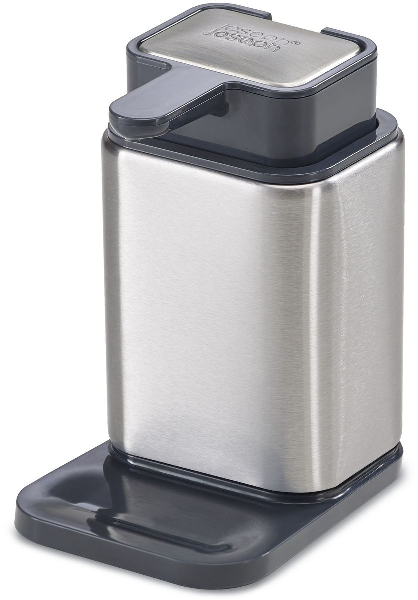 Дозатор для мыла Joseph Joseph Surface. 8511385113Диспенсер Surface оригинально совмещает традиционную ёмкость для жидкого мыла и стальное мыло для удаления запаха чеснока с рук, что незаменимо на каждой кухне. Стальной брусок встроен в верхнюю часть ёмкости и не требует дополнительного места возле раковины. В нескользящей основе диспенсера предусмотрен выступ для неизбежных капель из носика. Коллекция Surface - современное решение для организации рабочего пространства кухни. Все предметы коллекции изготовлены из стали класса SS430, хорошо известной своими высочайшими антикоррозийными свойствами.