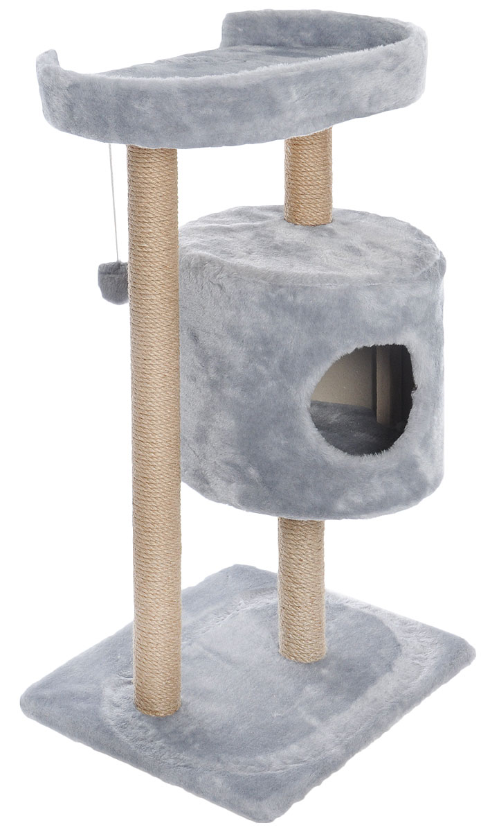 Домик-когтеточка Меридиан, круглый, с площадкой, цвет: светло-серый, 52 х 52 х 105 см домик trixie когтеточка alondra аквамарин серый для кошек 72 см