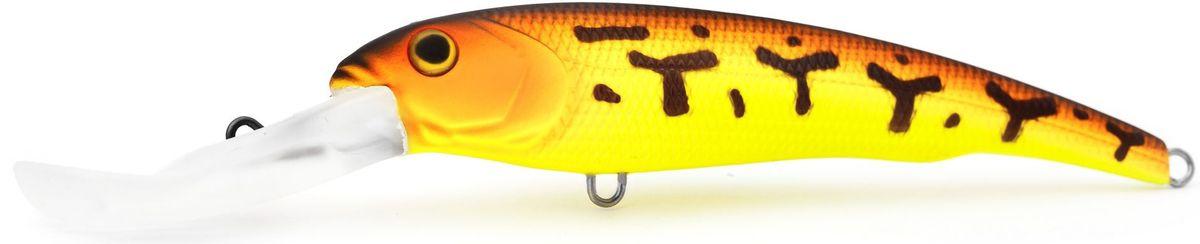 Воблер плавающий Atemi Predator Special, цвет: red tiger, длина 15,5 см, вес 47 г, заглубление 9 м513-00059Плавающий воблер Atemi Predator Special специально создан для ловли хищных рыб в весенне-летний период. Идеально подходит в качестве приманки для щуки и сома, для ловли которых необходимо брать наживку большого размера примерно от 12 см летом. Чем глубже водоем, тем более увесистая наживка вам потребуется. Заглубление и вес приманки делают ее прекрасным выбором для рыбалки на глубоких водоемах. Рекомендуется для ловли - щуки, окуня, форели, басса, язя, голавля, желтоперого судака, жереха.Заглубление: 9 м.Какая приманка для спиннинга лучше. Статья OZON Гид