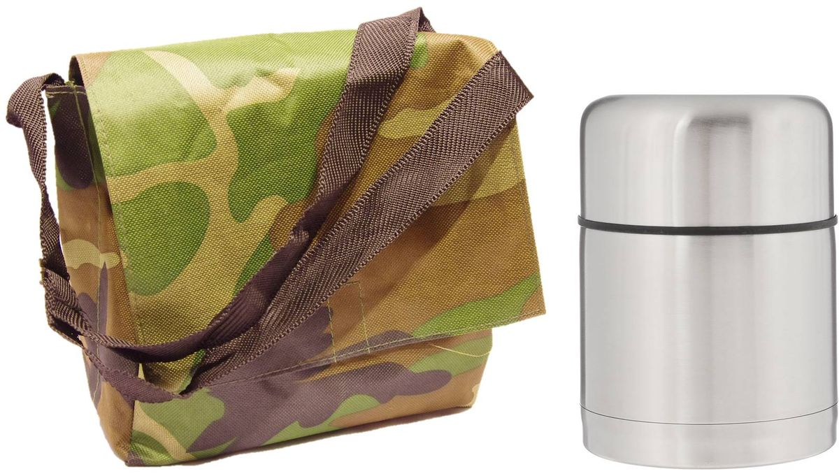 Набор Arctix, цвет: зеленый, коричневый, 2 предметаТТС-07150НаборArctix включает в себя термос и туристическую сумку. Термос изготовлен из высококачественной нержавеющей стали. Двухслойный корпус сохраняет температуру на срок до 24 часов. Термос предназначен для горячих и холодных продуктов, но лучше всего он подойдет для супа. Он оснащен глухой крышкой-пробкой, которая предотвращает проливание, а кнопка служит для спуска пара. Крышку можно использовать как чашку. Сумка выполнена из прочного текстиля и оснащена плечевым ремнем. Изделие имеет 1 вместительный карман, закрывающийся клапаном на липучке.Размер сумки: 23 х 12 х 22 см.Диаметр горлышка: 8,5 см.Диаметр основания термоса: 10 см.Высота термоса: 14,5 см.