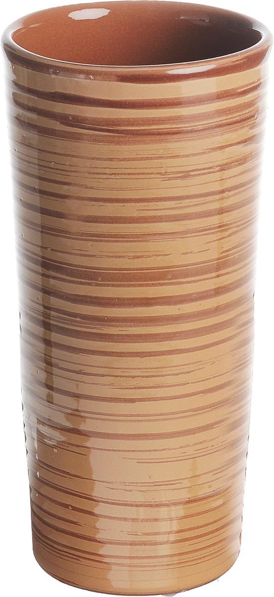 Вазон-стакан Борисовская керамика Cтандарт, цвет: светло-коричневый, 400 млОБЧ00000667Вазон-стакан Борисовская керамика Cтандарт изготовлен из высококачественной глазурованной керамики. Внешние стенки декорированы принтом в полоску. Благодаря высоким стенками он может быть использован в качестве стакана или вазы. Дизайн изделия подчеркнет оригинальность интерьера и прекрасный вкус хозяина.Диаметр (по верхнему краю): 7,5 см.Диаметр дна: 6 см.Высота стакана: 15,5 см.