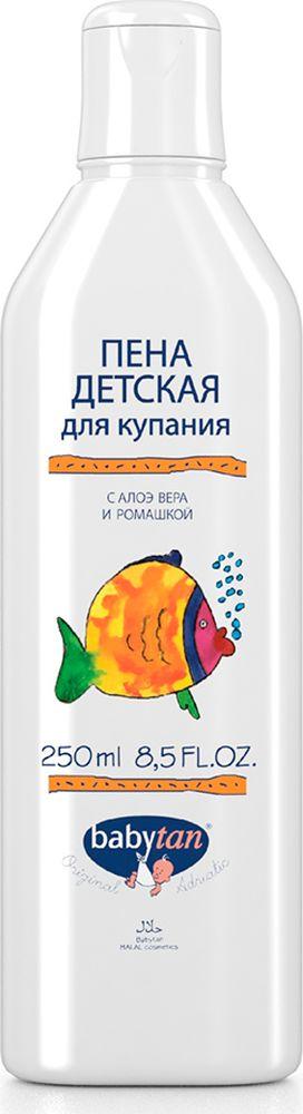 Baby Tan Пена детская для купания с алоэ вера и ромашкой 250 мл10364Baby Tan Пена детская для купания - 100% натуральная косметика. Косметическое средство с объемной, стабильной пеной и мягким, приятным ароматом, который понравится детям. Мягкий ПАВ не сушит и не раздражает кожу. Входящее в состав алоэ вера является натуральным увлажнителем кожи, а экстракт из цветков ромашки приятно расслабляет и успокаивает.