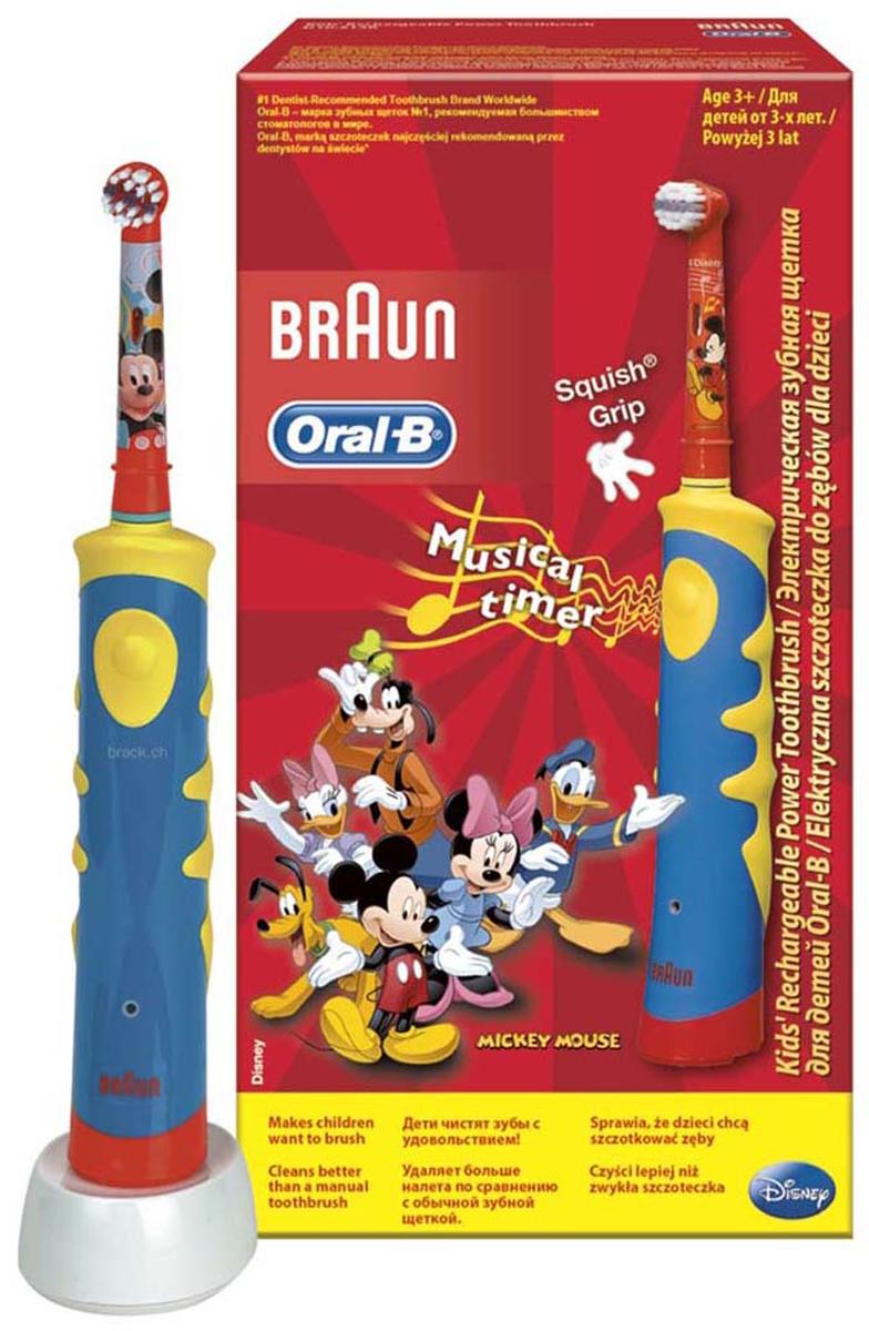 Электрическая зубная щетка для детей Oral-B Mickey KidsD10.513Лучшее удаление зубного налета с учетом особенностей детского организма.Дети хотят получать удовольствие во время чистки зубов: ?? благодаря ярким цветам и дизайну с любимыми героями Диснея© щётка Oral-B Mickey KIDS (D10K) превращает чистку зубов в веселое занятие! Клинически доказано, что электрическая зубная щетка Oral-B Mickey Kidsпревосходно чистит зубы по сравнению с обычной мануальной зубной щеткой. Oral-B Mickey KIDS имеет более короткие щетинки для особо бережной чистки полости рта ваших детей. Рекомендовано для детей с 3 лет.Технология возвратно-вращательных движений 2D в режиме чувствительной чистки совершает 5600 движений в минуту и позволяет удалять зубной налет лучше, чем мануальная зубная щетка.Комплектация: Электрическая зубная щетка (1 шт.), насадка для щетки Oral-B Kids (1 шт.), зарядное устройство (1 шт).Перейдите на новый уровень чистки за 2 минуты!* Oral-B – марка зубных щеток №1, используемая большинством стоматологов мира!* (* на основании международных опросов P&G среди репрезентативной выборки стоматологов, проводимых регулярно, в т.ч. 2013-2015 гг.)* Удобный встроенный таймер помогаетчистить зубы рекомендованные стоматологами 2 минуты* Сочетается со всеми сменными насадками Oral-B (кроме звуковой Sonic)* Производится в Германии* Встроенный музыкальный таймер проигрывает одну из 16 мелодий, мотивируя детей чистить зубы 2 минуты* Экстрамягкие расщеплённые на концах щетинки обеспечивают бережную чистку жевательных поверхностей зубов. * Голубые щетинки Indicator обесцвечиваются наполовину, сигнализируя о необходимости замены насадки (в среднем раз в 3 месяца)* Водонепроницаемая ручка щетки.* Компактное зарядное устройство.
