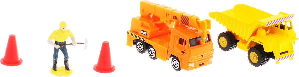 ТехноПарк Набор машинок Строительная техника КамАЗ 2 шт технопарк набор машинок транспортер военный камаз с лодкой 2 шт