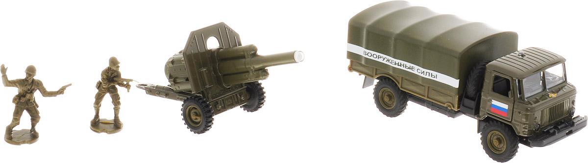 ТехноПарк Машинка ГАЗ 66 Военные силы с пушкой технопарк газ 66 с пушкой