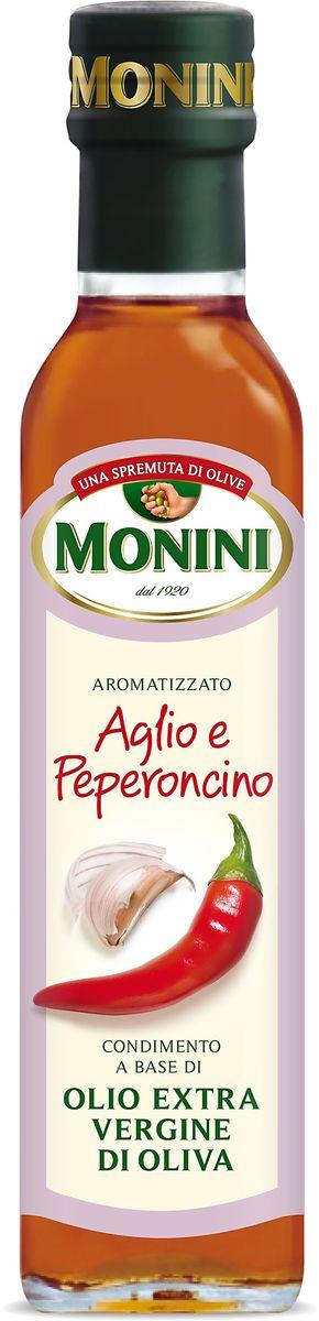 Monini масло оливковое Extra Virgin Чеснок и перец, 250 мл1610015/1Масло оливковое MONINI с чесноком и перцем Еxtra virgin – полезный полностью натуральный продукт, не подвергнутый химическим процессам. Нерафинированное оливковое масло экстра класса станет прекрасной заправкой для зеленых салатов, основной для изысканных соусов и маринадов, а также других вкусных и полезных блюд средиземноморской кухни. Оливковое масло обладает экстраординарными оздоровительными свойствами, идеально подходит для приверженцев правильного питания.