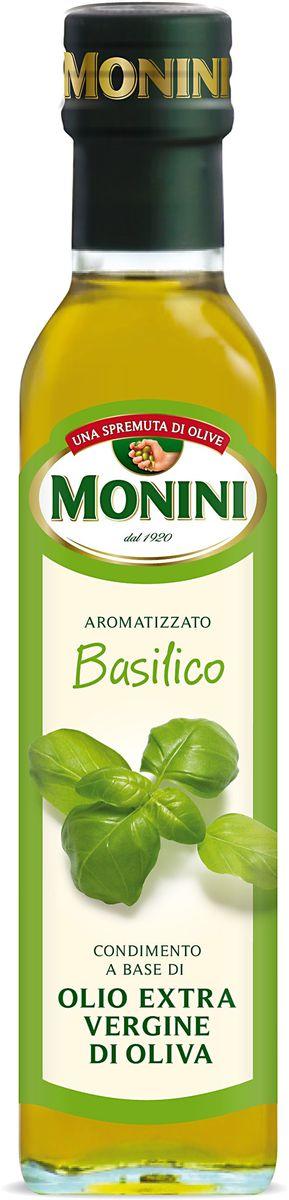 Monini масло оливковое Extra Virgin Базилик, 250 мл цена