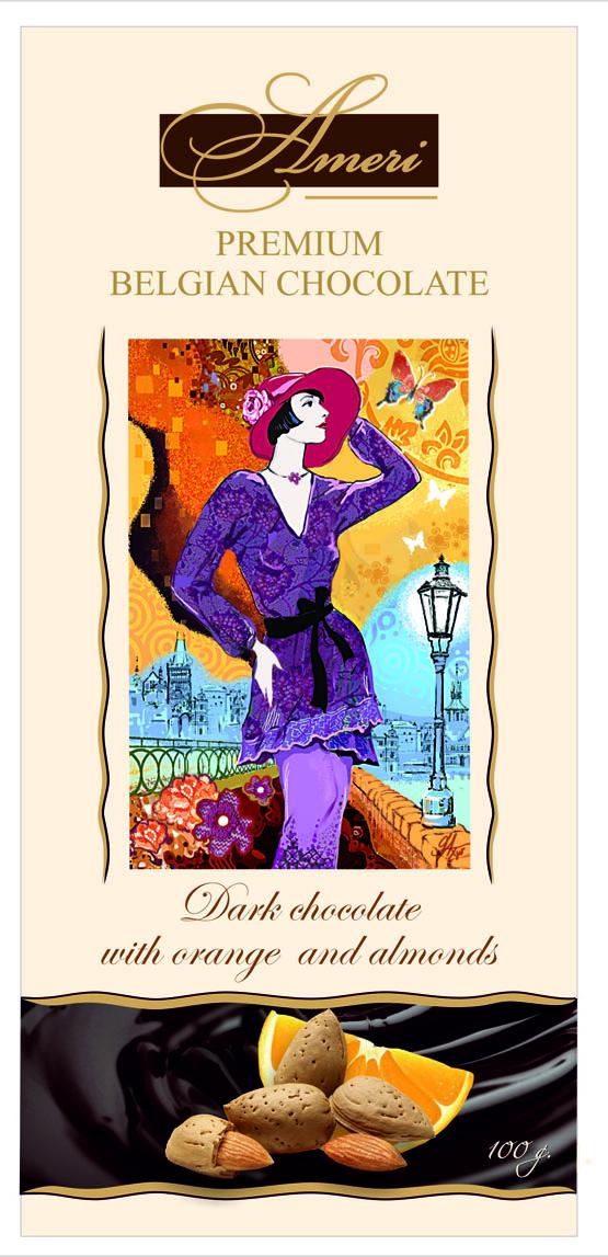 Ameri Горький шоколад 57% c миндалем и апельсином, 100 г0910106/2Торговая марка Амери, производящая изысканный сладкий ассортимент, знакома всем любителям темного шоколада. Все гурманы десертов и убежденные сладкоежки знают и любят продукцию Амери. Кондитерская фабрика создает шоколад, который можно по праву отнести к продукции премиального сегмента. Настоящие шоколадки от Амери не только вкусные, но также очень красивые. Выглядят настолько привлекательно, что достойны украсить роскошный праздничный стол. Рецептуры, по которым производятся эти сладости - уникальна. Каждый рецепт разрабатывается силами своих технологов и может служить визитной карточкой кондитерского предприятия. Линейка включает несколько видов горького шоколада. С большим вниманием сотрудники компании относятся к разработке вкусов. Основываясь на изучении потребительских предпочтений и последних тенденциях сладкого рынка, они создают новые продукты, в которых удачно сочетаются инновации и традиции. Поэтомупотребителю каждый раз приятно и интересно, когда он разворачивает шоколадку от Амери.