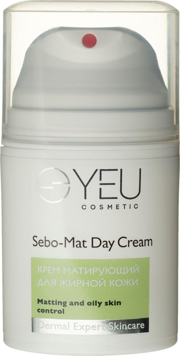 YEU Cosmetic Крем матирующий для жирной кожи Sebo-Mat Day Cream, 50 мл0422Бархатный дневной крем ежедневного применения для жирной и комбинированной кожи. Благодаря стойкому матирующему эффекту инновационного комплекса Matilook™ отлично подходит как база под макияж, выравнивая рельеф кожи, стягивая поры и устраняя покраснения. Уникальный комплекс Trikenol™ контролирует активность сальных желе, препятствует размножению бактерий. Комплекс экстрактов корня солодки и ромашки обеспечивает мощное противовоспалительное и антисептическое действии, осветляя постакне элементы, гарантируя красоту и здоровье кожи.