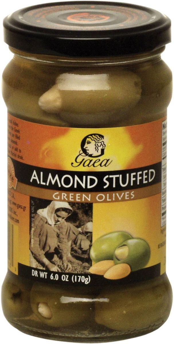 GAEA Оливки зеленые с миндалем, 295 г delphi оливки фаршированные миндалем в рассоле 350 г