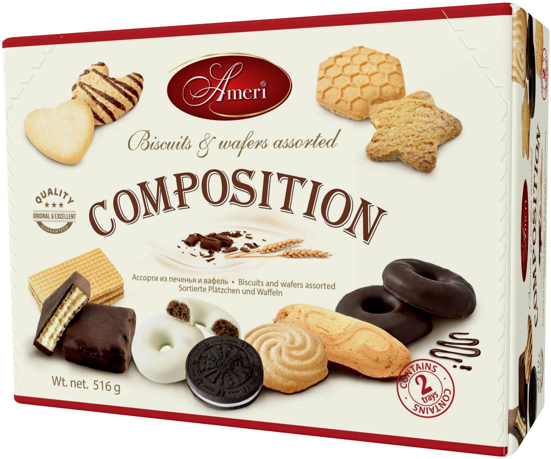 Ameri Composition Ассорти из печенья и вафель, 516 г sweeterella набор сдобного печенья ассорти 710 г