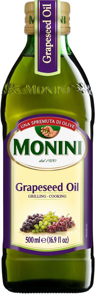 Масло виноградное Monini Grapeseed Oil рафинированное - итальянское   растительное масло из виноградных косточек. Больше всего оно подходит для   термической обработки блюд, потому что только при очень высоких температурах   начинает дымиться и выделять вредные вещества. Кроме того оно отлично   подходит для приготовления салатных заправок, соусов и маринадов. Не имеет   своего ярко выраженного вкуса и аромата, поэтому не забивает блюда, а лишь   подчеркивает их натуральные вкусовые качества. Виноградное масло - ценный   источник полиненасыщенных жиров и витамина Е. Активно используется в   косметологии.    Масла для здорового питания: мнение диетолога. Статья OZON Гид