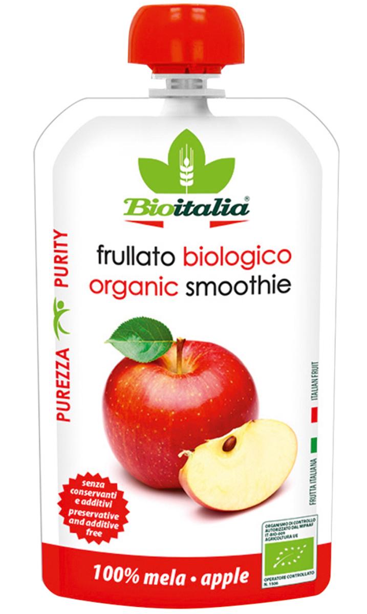 Bioitalia Пюре из яблока смузи, 120 г помада лакомка апельсиновый смузи 2 8гй смузи 2 8г