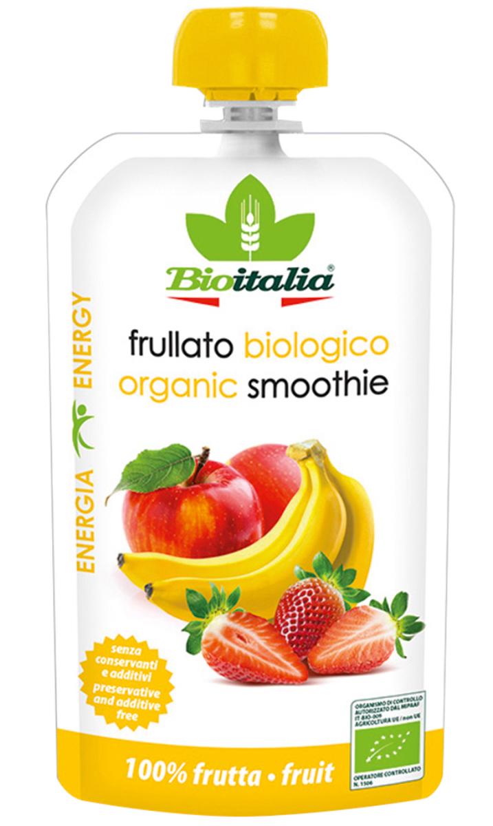 Bioitalia Пюре из яблока, клубники и банана смузи, 120 г кружево вкуса смесь для смузи из клубники и ананаса быстрозамороженная 300 г
