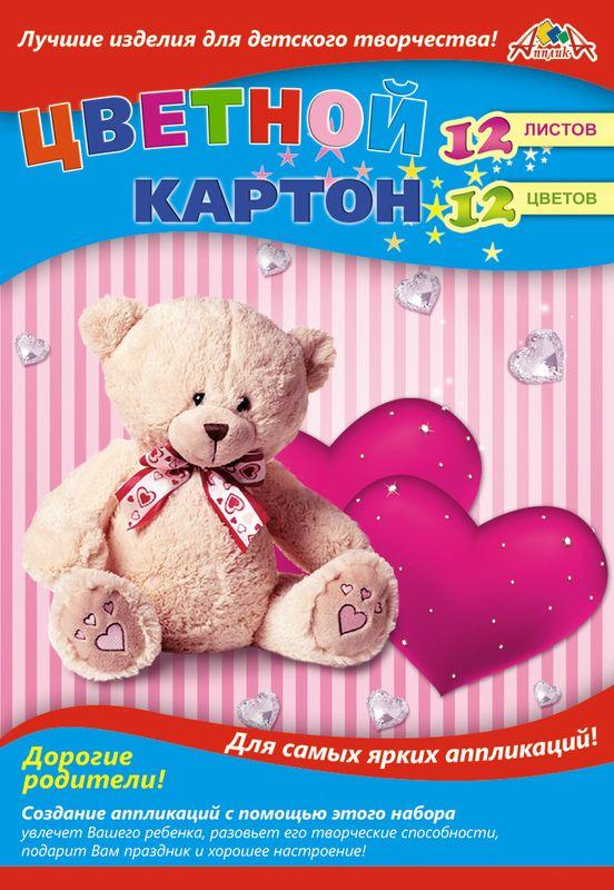 Апплика Цветной картон Мишка и сердечки 12 листов