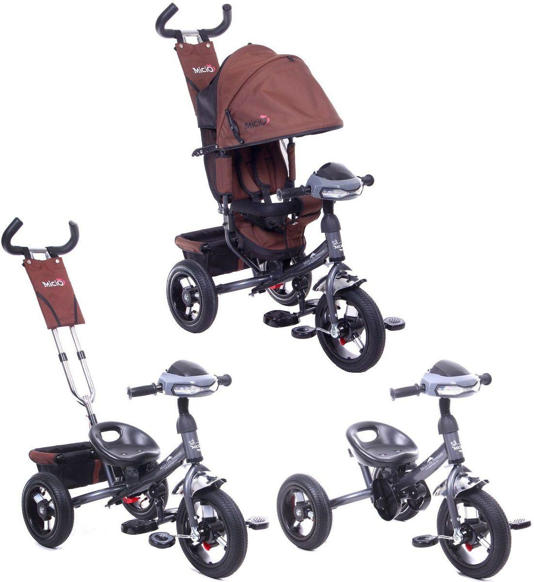 Трехколесный детский велосипед Micio City Premium станет прекрасным подарком для вашего ребенка. Он удобный, современный, красивый и  безопасный. Двойная телескопическая ручка-толкатель поможет родителям управлять этим велосипедом как коляской. А спустя время, когда  ребенок сможет самостоятельно управлять велосипедом, все лишнее можно будет снять. Этот трехколесный велосипед  оснащен увеличенными  колёсами, стояночным тормозом, багажной корзиной и светомузыкальной панелью. Яркость дизайна и современность стиля - вот, что отличается  велосипед Micio City Premium от других. Ребенок сможет комфортно чувствовать себя в нем, благодаря пятиточечному ремню безопасности и  мягкому вкладышу-кенгуру на сиденье. Максимальная нагрузка на велосипед - 30 кг. Особенности трехколесного детского велосипеда Micio City Premium: -функция свободного хода переднего колеса; -стояночный тормоз; -сиденье с высокой спинкой, которое можно регулировать в три положения; -два положения установки сидения; -складные широкие подставки для ног; -складной тент колясочного типа; -складная подножка; -двойная быстросъёмная телескопическая ручка-толкатель; -функция управления передним колесом; -раздвижная дуга безопасности с мягкими подлокотниками; -мягкий вкладыш-кенгуру на сиденье; -пятиточечный ремень безопасности; -корзина; -сумка; -фара со звуковыми эффектами. Размеры велосипеда: Длина от заднего колеса до переднего: 80 см. Расстояние между задними колёсами: 50 см. Высота от руля до пола: 60 см. Высота от седла до пола: 35 см. Расстояние от середины седла до дальней педали: 40 см.