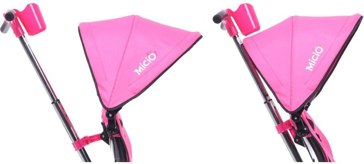 Велосипед трёхколёсный Micio Compact — универсальное транспортное средство. Складная рама позволит разместить его в любом багажнике или на заднем сидении автомобиля. Пятиточечный ремень безопасности и вкладыш-кенгуру уберегут ребёнка от падения, а складной тент защитит его от солнца и дождя. Велосипед оборудован удобным сиденьем с высокой спинкой и регулировкой наклона, а также стояночным тормозом, являющимся особенностью этой модели. Звонок на руле развлечёт вашего пассажира во время долгой поездки. Особенности: складная рама; функция свободного хода переднего колеса; сиденье с высокой спинкой; два положения установки сидения; два положения наклона спинки: 10 и 25°; стояночный тормоз; складная подножка; складной тент колясочного типа; телескопическая ручка-толкатель; функция управления передним колесом; раздвижная дуга безопасности с мягкими подлокотниками; мягкий вкладыш-кенгуру на сиденье; пятиточечный ремень безопасности; педали с фактурным рисунком; подставка для детской бутылочки или стаканчика; корзина; звонок. Размеры Длина от заднего колеса до переднего: 80 см. Расстояние между задними колёсами: 49 см. Расстояние от пола до ручки (диапазон): 90?97 см. Высота от руля до пола: 56 см. Высота от седла до пола: 32 см. Расстояние от середины седла до дальней педали: 40 см. Масса нетто: 8 кг. Максимальная нагрузка: 30 кг.
