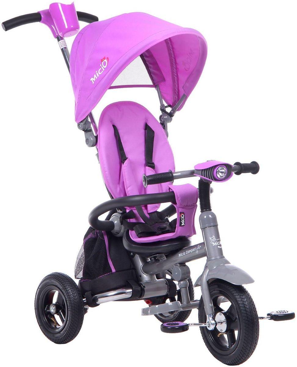 Micio Велосипед детский трехколесный Micio Compact Air 2017 цвет лиловыйRB14G-4 фукс.Велосипед трёхколёсный Micio Compact Air — универсальное транспортное средство нового поколения. Складная рама позволит положить его в любой багажник или на заднее сиденье автомобиля, взять с собой в путешествие или компактно разместить дома. Пятиточечный ремень безопасности и вкладыш-кенгуру уберегут ребёнка от падения, а складной тент защитит его от солнца и дождя. Велосипед оборудован удобным сиденьем с высокой спинкой и регулировкой наклона, а также стояночным тормозом, являющимся особенностью этой модели. Светомузыкальная панель развлечёт вашего пассажира во время долгой поездки. Особенности: светомузыкальная панель; сиденье с высокой спинкой; два положения установки сидения; два положения наклона спинки: 10 и 25°; стояночный тормоз; складная подножка; складной тент колясочного типа; телескопическая ручка-толкатель; функция управления передним колесом; раздвижная дуга безопасности с мягкими подлокотниками; мягкий вкладыш-кенгуру на сиденье; пятиточечный ремень безопасности; педали с фактурным рисунком; подставка для детской бутылочки или стаканчика; корзина. Размеры Длина от заднего колеса до переднего: 80 см. Расстояние между задними колёсами: 49 см. Расстояние от пола до ручки (диапазон): 97?103 см. Высота от руля до пола: 86 см. Высота от седла до пола: 31 см. Расстояние от середины седла до дальней педали: 40 см. Масса нетто: 9,5 кг. Максимальная нагрузка: 30 кг.