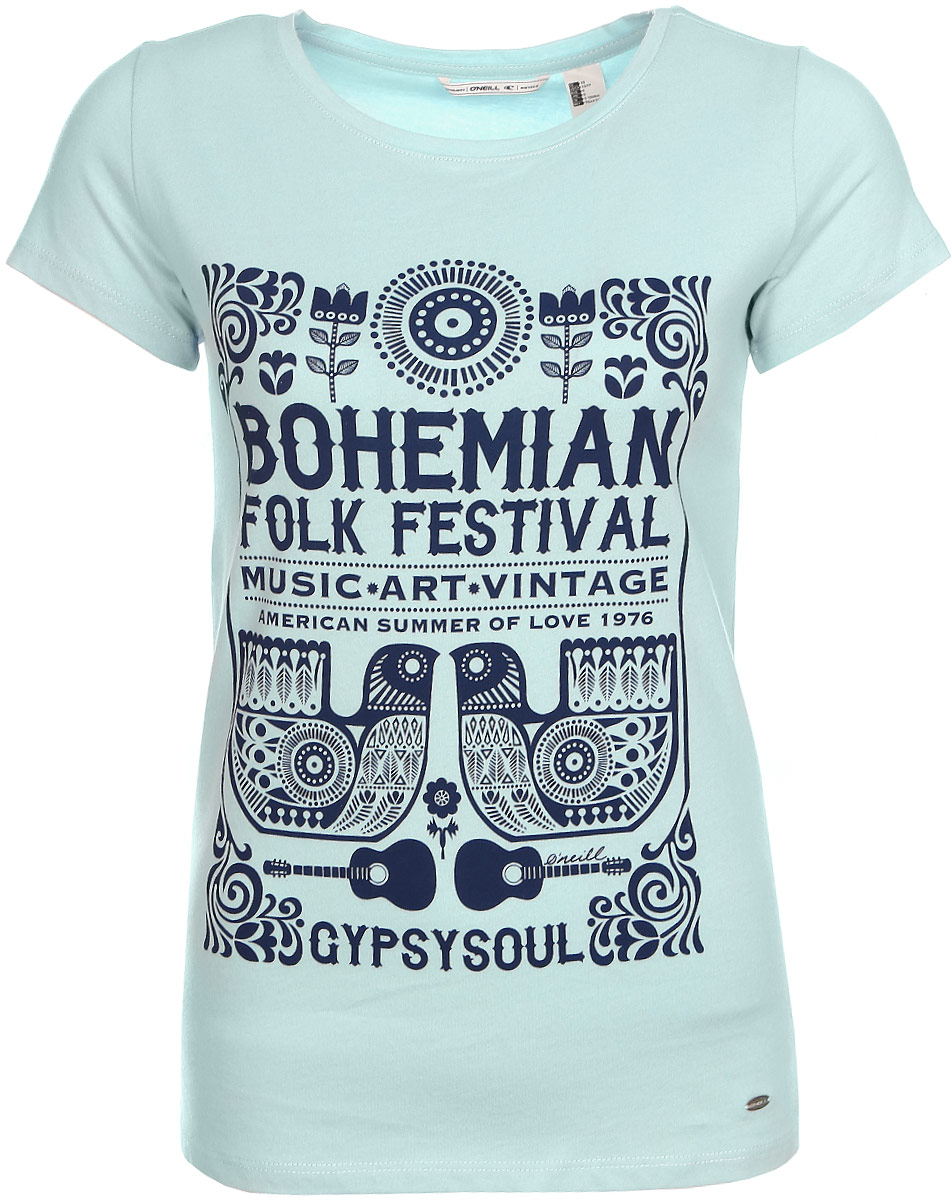Футболка женская ONeill Lw Boho Festival T-Shirt, цвет: голубой. 7A7330-5057. Размер XS (42/44)7A7330-5057Футболка женская ONeill выполнена из 100% хлопка. Модель имеет стандартный крой, короткий рукав и круглый вырез горловины. Футболка дополнена надписями в стиле бохо.