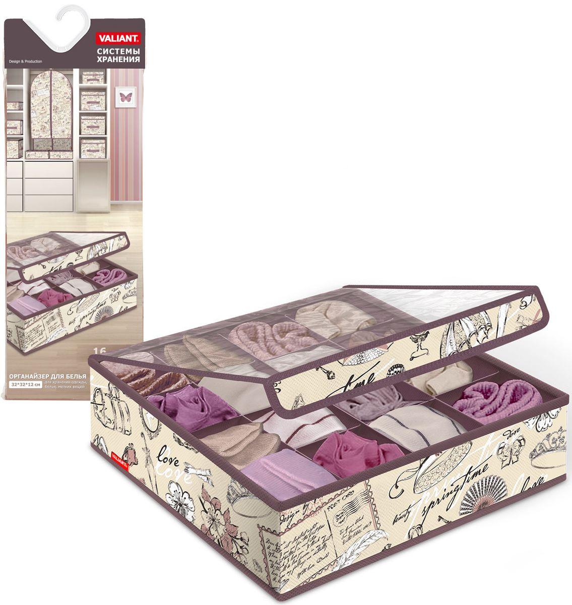Органайзер для белья и носков Valiant Romantic, с прозрачной крышкой, 32х32х12 см, 16 секций органайзеры и сумки