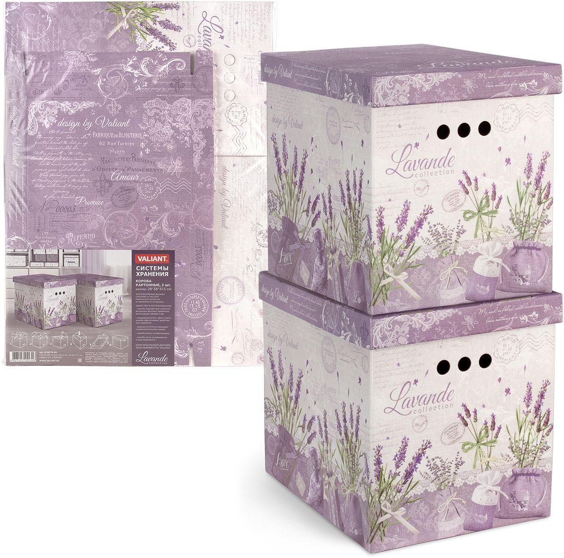 Набор коробок Valiant Lavande, складных, 28 х 38 х 31,5 см, 2 штLV-BCTN-2MЛегкие и прочные коробки Valiant Lavande, выполненные из картона, оформлены цветочным принтом. В комплект входят две коробки. Короба подходят для хранения различных бытовых предметов, аксессуаров, одежды и др. Прорезные ручки с двух сторон короба обеспечивают удобство при переноске. Крышка эстетично закрывает содержимое внутри короба. Короба можно штабилировать. Короба легко складываются и раскладываются.Благодаря вместительности коробок вы сможете сэкономить место в вашем доме, и все вещи всегда будут в порядке.