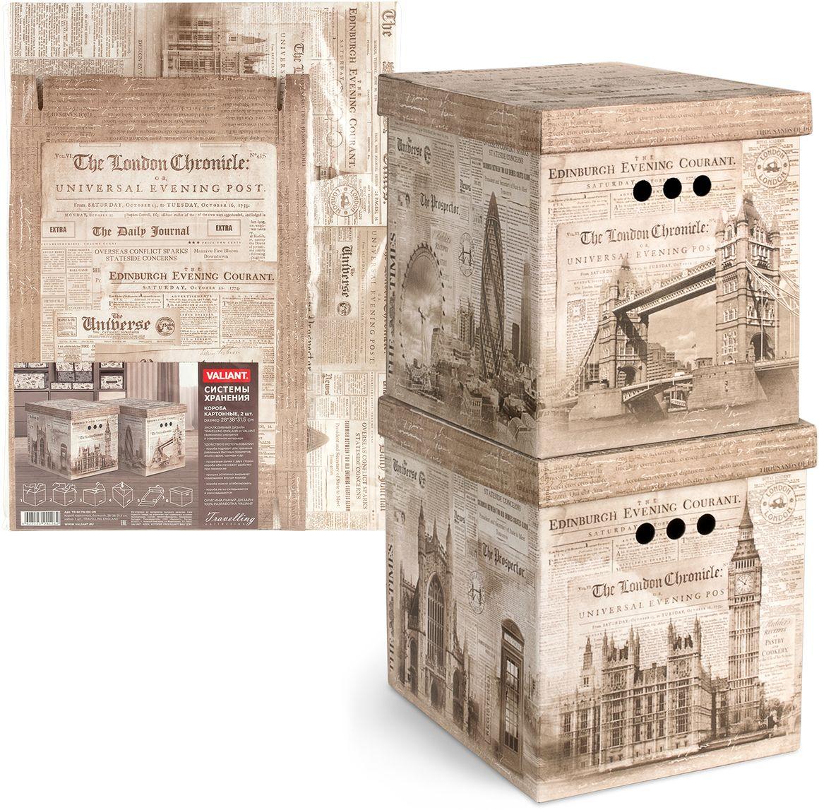 Набор коробок Valiant Travelling England, складных, 28 х 38 х 31,5 см, 2 штTR-BCTN-EN-2MНабор из 2 складных картонных коробок Valiant Travelling England подходит для хранения различных бытовых предметов, аксессуаров, одежды и др. Прорезные ручки с двух сторон короба обеспечивают удобство при переноске. Крышка эстетично закрывает содержимое внутри короба. Короба можно штабилировать. Короба легко складываются и раскладываются.