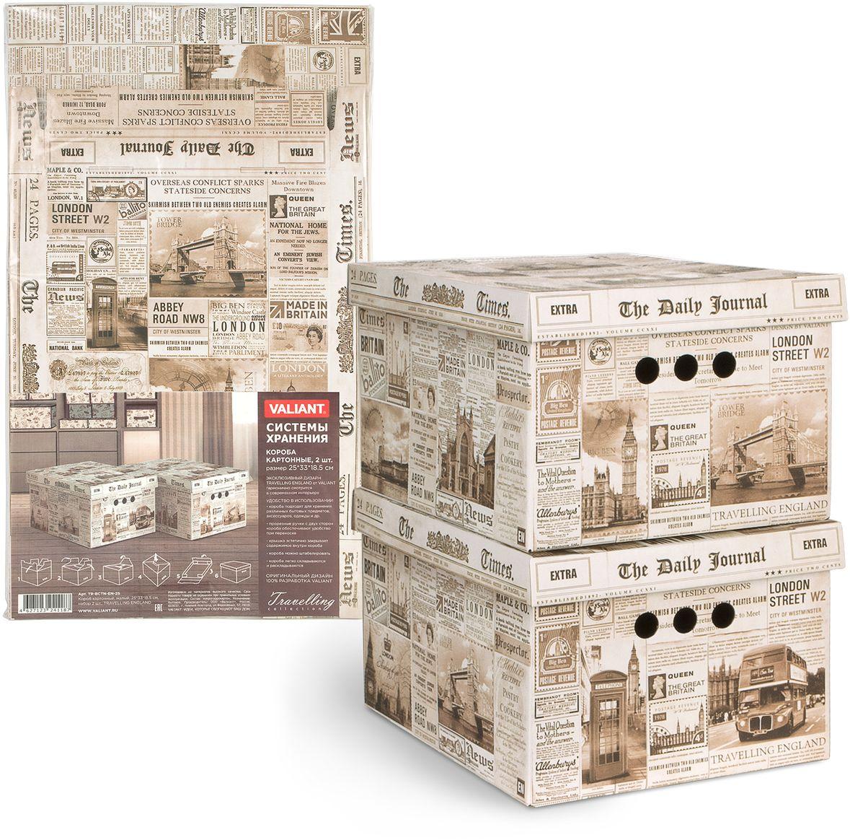 Набор коробок Valiant Travelling England, складных, 25 х 33 х 18,5 см, 2 штTR-BCTN-EN-2SНабор из 2 складных картонных коробок Valiant Travelling England подходит для хранения различных бытовых предметов, аксессуаров, одежды и др. Прорезные ручки с двух сторон короба обеспечивают удобство при переноске. Крышка эстетично закрывает содержимое внутри короба. Короба можно штабилировать. Короба легко складываются и раскладываются.
